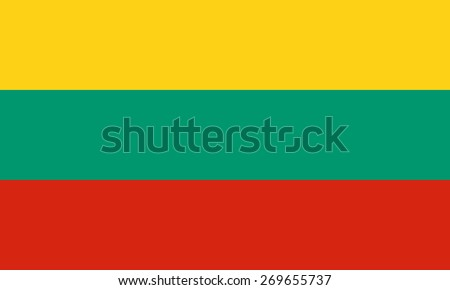 Flag of the Republic of Lithuania. Correct colors, sizes and proportions. Official Lithuanian state symbol . Three horizontal stripes - yellow, green, red. For political maps, news articles. - stock vector
