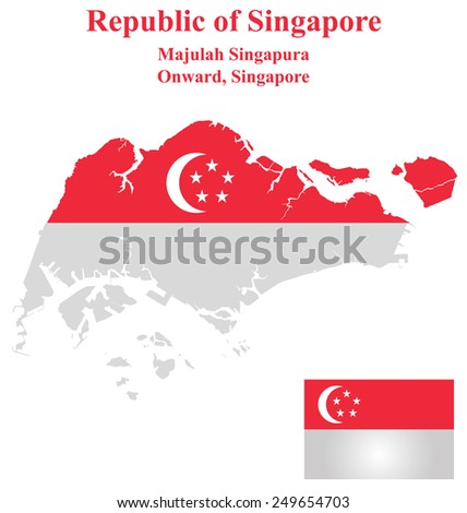 Flag of the Republic of Singapore overlaid on detailed outline map isolated on white background  - stock vector
