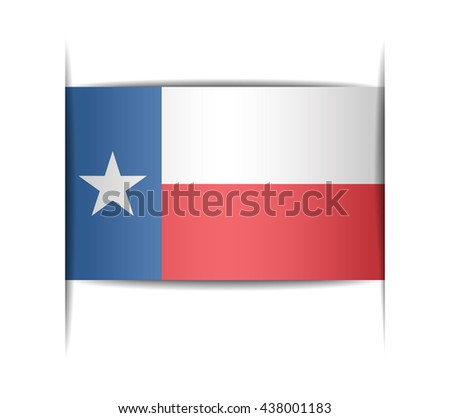 Flag of the state of Texas. Vector illustration of a stylized flag. The slit in the paper with shadows. Element for infographics. - stock vector