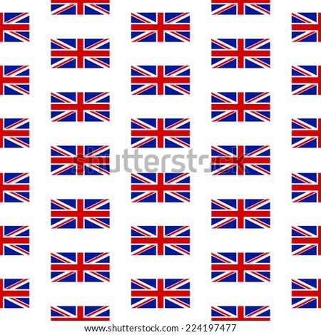 Flag of the United Kingdom seamless pattern on white background. Vector illustration. - stock vector