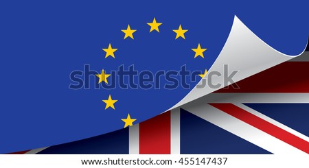 Flag of the United Kingdom under flag of the European Union, Brexit, vector illustration. - stock vector