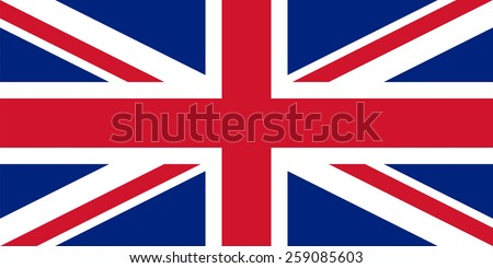 "Flag of the United Kingdom "" Union Jack"". True sizes, proportions and colors. The Cross of Saint Andrew with the Cross of Saint Patrick, over all Cross of Saint George. Vector illustration. - stock vector"