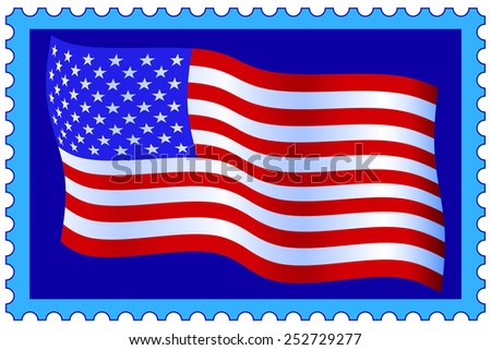Flag of the United States of America on postage stamp - stock vector