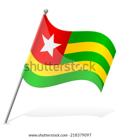flag of Togo vector illustration isolated on white background - stock vector