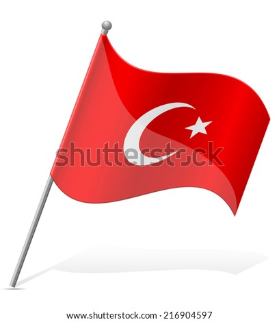 flag of Turkey vector illustration isolated on white background - stock vector