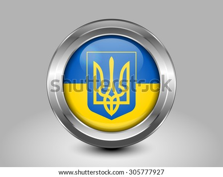 Flag of Ukraine with Coat of Arms. Metal Round Icons. This is File from the Collection European Flags - stock vector