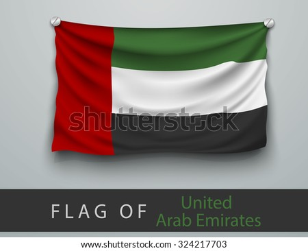 FLAG OF United Arab Emirates  battered, hung on the wall, screwed screws - stock vector