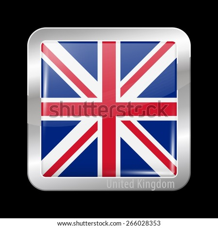Flag of United Kingdom. Metal Icons Square Shape. This is File from the Collection European Flags - stock vector