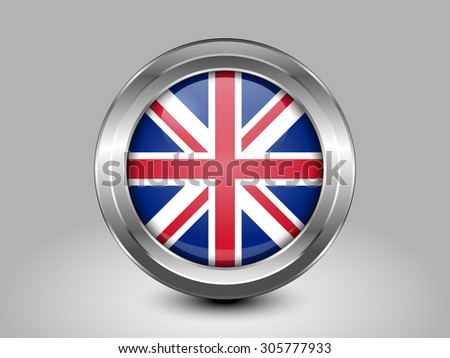 Flag of United Kingdom. Metal Round Icons. This is File from the Collection European Flags - stock vector