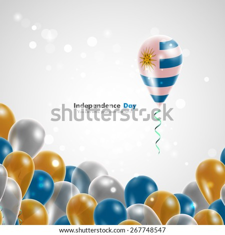 Flag of Uruguay on balloon. Celebration and gifts. Ribbon in the colors of the flag are twisted under the balloon. Independence Day. Balloons on the feast of the national day. - stock vector