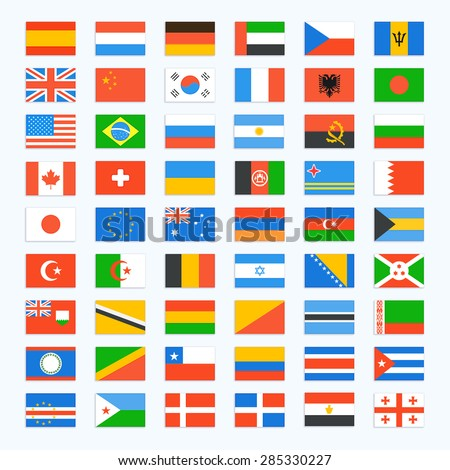 Flag of world. Vector icons set - stock vector
