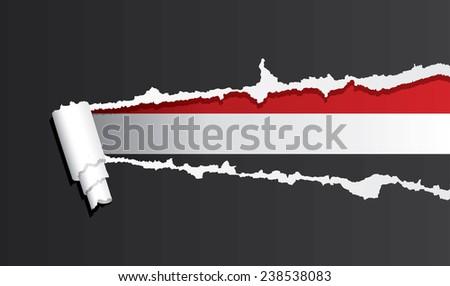 Flag of Yemen under ripped paper vector illustration. - stock vector