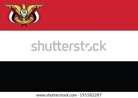 Flag of Yemen with Coat of Arms. Presidential standard. Vector. Accurate dimensions, elements proportions and colors. - stock vector