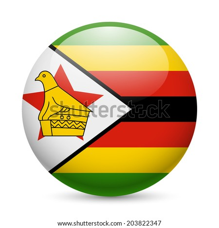 Flag of Zimbabwe as round glossy icon. Button with Zimbabwean flag - stock vector