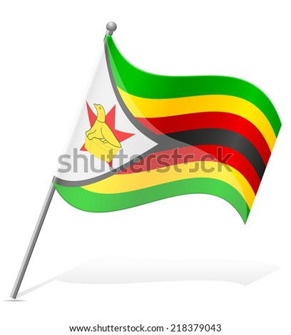 flag of Zimbabwe vector illustration isolated on white background - stock vector