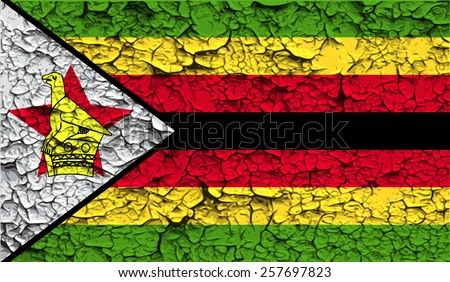 Flag of Zimbabwe with old texture. Vector illustration - stock vector