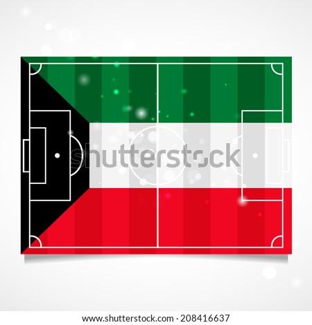 Flag on the football field. Football field. Sleek design of a football field. Kuwait football field. Flat design. Flag of Kuwait - stock vector