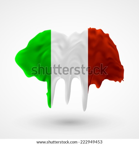 Flag painted colors. Blot with paint streaks with the national colors. Independence Day. International relations. Flag of Italy - stock vector