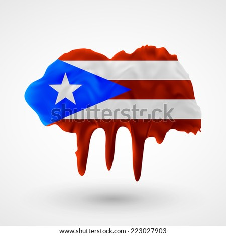 Flag painted colors. Blot with paint streaks with the national colors. Independence Day. International relations. Flag of Puerto Rico - stock vector