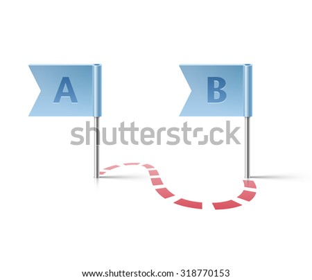 Flag pins from point A to point B - stock vector