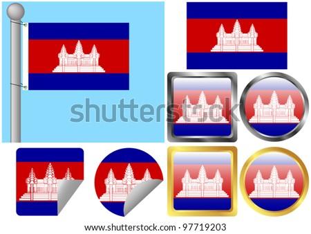 Flag Set Cambodia - stock vector