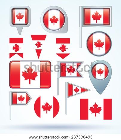 Flag set of Canada, vector illustration - stock vector