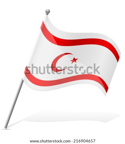 flag Turkish Republic of Northern Cyprus vector illustration isolated on white background - stock vector