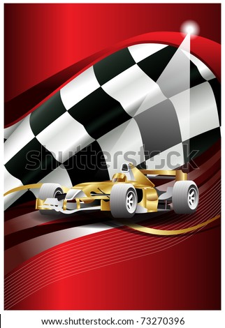 flag vector and car of one formulate - stock vector