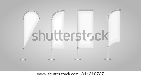 Flag vector blank banner stand  display, Marketing and canvas, set of promotion banners - stock vector