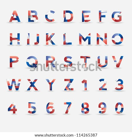 Flag Vector Font. Great Britain, USA, France, Netherlands and Russia colors - stock vector