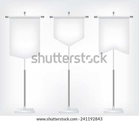 Flag white banner different shapes - stock vector