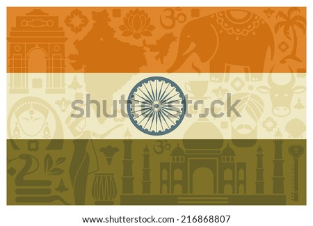 Flag with traditional symbols of India - stock vector