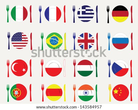 Flags and cuisines - stock vector