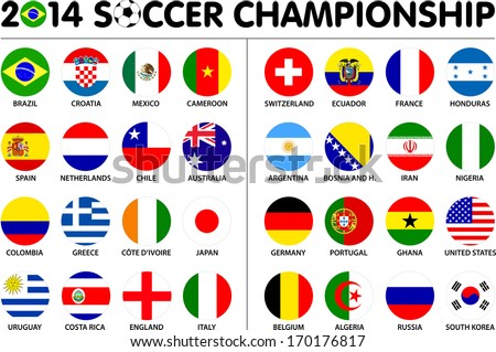 Flags for soccer championship 2014. Groups A to H. 8 groups. 32 nations. 2d circle designs. Carefully designed. - stock vector