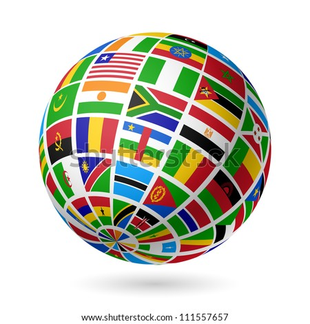 Flags globe. Africa. Vector. - stock vector