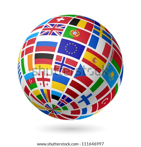 Flags globe. Europe. Vector. - stock vector