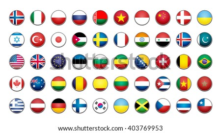 Flags icons. Simple flags of the countries - stock vector