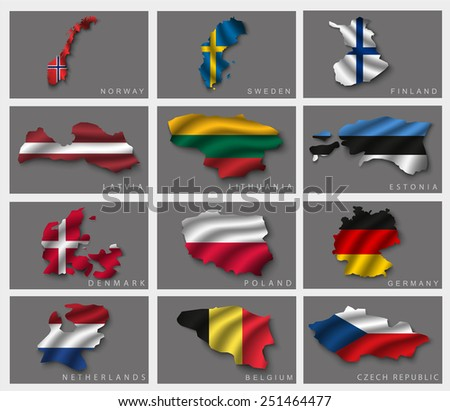 Flags in the form of states with shadows - stock vector