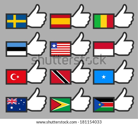 Flags in the Thumbs up-09, flat vector illustration - stock vector