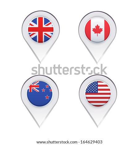 Flags inside pointers over white background. Vector design. - stock vector