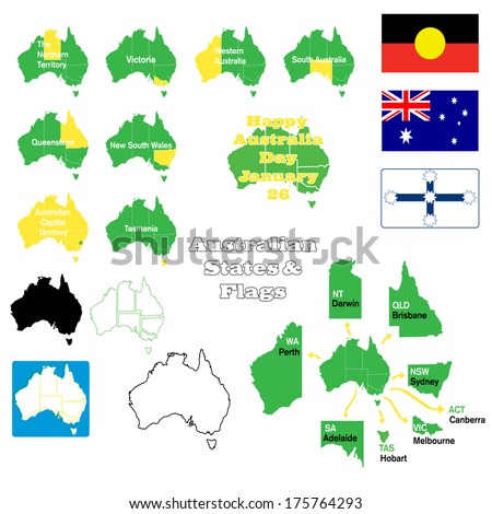 Flags, maps and states of Australia with capital cities and maps in outline and state outline versions - stock vector