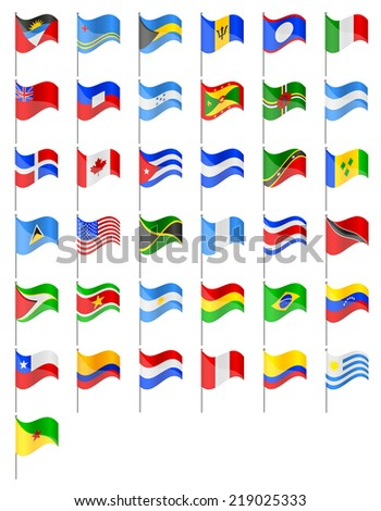 flags North and South Americas countries vector illustration isolated on white background - stock vector