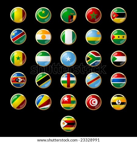 Flags of African states 002 - stock vector