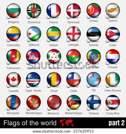 Flags of all countries in the 3d ball with shadows - stock vector