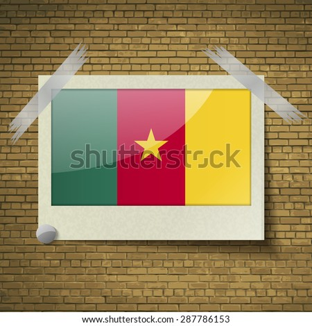 Flags of cameroon at frame on a brick background. Vector illustration - stock vector