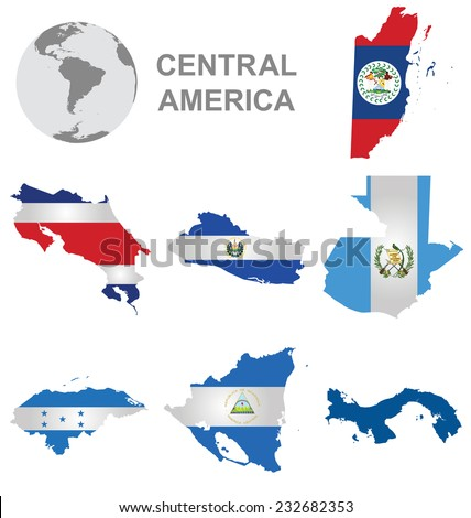 Flags of Central America collection overlaid on outline map isolated on white background with Panama shown solid colour due to copyright restrictions - stock vector