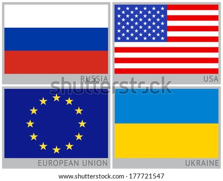 Flags of countries: Ukraine, Russia, Usa, European Union - stock vector