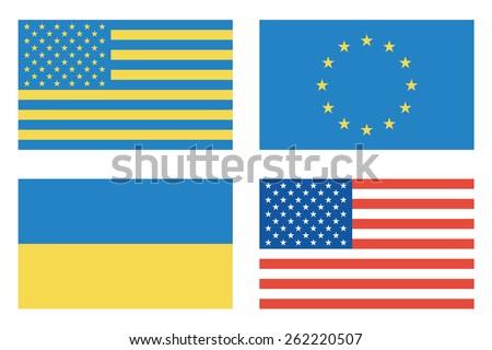 Flags of countries. USA, Ukraine, European Union. Vector illustration - stock vector