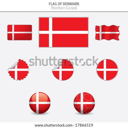 Flags of Denmark - stock vector
