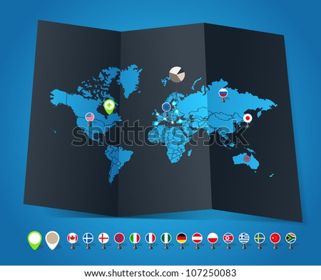 flags of different countries and symbols, flags - stock vector